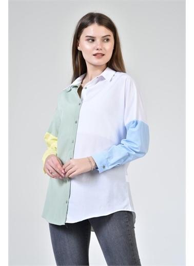 Rodi Jeans Kadın Renkli Bloklu Gömlek DS21YB033915 Yeşil